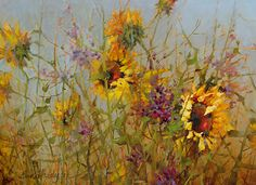 Field of Sunflowers by Ann Hardy Oil ~ 18 x 24