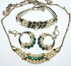 Coro Faux Pearl Green Rhinestone Necklace Bracelet Earrings Set 1950's