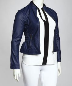 Dark Royal Blue Ruched Jacket - Plus
