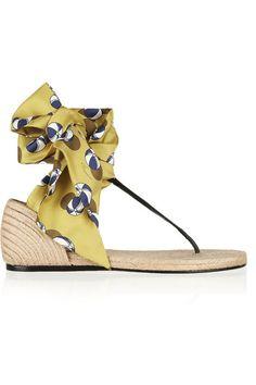 GUCCI Printed satin-twill espadrille sandals