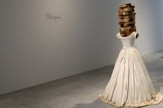"""ANSELM KIEFER ~ """"Phryne"""" from the series Women of Antiquity """"…five plaster dress sculptures from the series """"Women of Antiquity"""": """"Sapho"""" with books instead of the head, """"Phryne"""" with bricks and the """"Divinity"""" with the numbering system of the Kabbalah. """"Many poets are known only from the citations of men, """"which is why I left out the heads."""" ~ via Die Welt"""