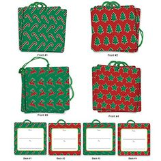 G5010 Christmas Pops: Set of 12 Christmas Themed Gift Tags Featuring Dimensional Patterns Of Favorite Holiday Imagery,With Attached Cotton String - 3 Tags Each of 4 Complementing Designs- . -- Find out more details by clicking the image