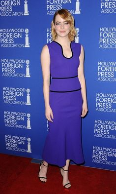 Emma Stone was a vision in violet during the Hollywood Foreign Press Association's grants banquet in Beverly Hills.