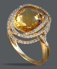 $3,100 Effy Collection 14k Gold Ring, Citrine (7-1/8 ct. t.w.) and Diamond (5/8 ct. t.w.) Ring - Rings - Jewelry & Watches - Macy's
