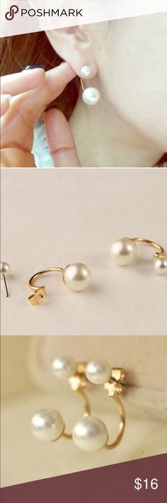 Gold double white pearl earrings New, never worn. Stunning gold plated, nickel free, double white faux pearl earrings. Thank you for visiting my closet, please let me know if you have any questions. I offer great discounts on bundles. 💕😊 lucy6mahon Jewelry Earrings
