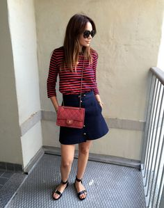 Navy blue and burgundy (Chanel bag)