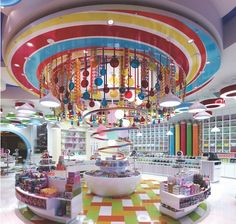 A stunning Toy Store in China. The candy chandelier spins!!!!