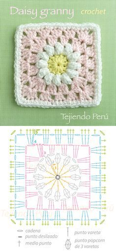 Discover thousands of images about Daisy granny square pattern (diagram)! Cuadrado con flor de margarita tejido a crochet (incluye diagrama)! Motifs Granny Square, Granny Square Crochet Pattern, Crochet Blocks, Crochet Diagram, Crochet Chart, Crochet Squares, Love Crochet, Crochet Flowers, Crochet Baby