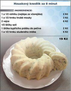 Levně a chutně - recept na Houskový knedlík Vybranou formu vymažte máslem a vysypte hrubou moukou. Opatrně do ní přesuňte knedlíkové těsto a vložte do mikrovlnné trouby. Výkon mikrovlnky nastavte na 750W a dobu vaření na 8 minut. Slovak Recipes, Czech Recipes, Russian Recipes, Cake Recipes, Snack Recipes, Cooking Recipes, Snacks, Slovakian Food, Thing 1
