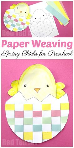 Easter Egg & Chick Paper Weaving - Red Ted Art's Blog #kidscrafts