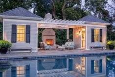 Botanical Decorators created a gorgeous landscape estate in Alexandria, VA, despite numerous obstacles along the way. See how we overcame these challenges to produce an award-winning result! Pool House Designs, Backyard Pool Designs, Swimming Pools Backyard, Pool Landscaping, Pool House Shed, Pool House Plans, Pool Cabana, Custom Pools, Cool Pools