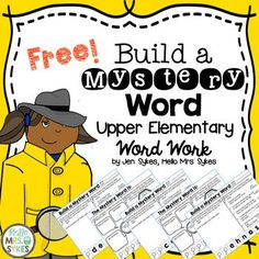 FREE - Word work for Big Kids - Build a Mystery Word! Need a challenging and engaging way to keep your Upper Elementary students working on words? The 3 Build A Mystery Word sheets in this free set are a great way to get your students actively manipulatin Word Work Games, Word Work Activities, Spelling Activities, Vocabulary Activities, Dictionary Skills, Literacy Stations, Literacy Centers, Building For Kids, Reading Intervention