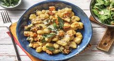 Picture pillowy bundles of gnocchi smothered in a cheesy creamy sauce with sweet roasted veggies and drizzled with truffle oil. Roasted Vegetables, Veggies, Pumpkin Truffles, Cooking Cream, Lemon Potatoes, Baked Corn, Carrot Salad, Gnocchi Recipes, Toasted Almonds