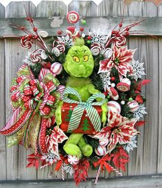 The Grinch Christmas Wreath in Peppermint red and white, by IrishGirlsWreaths, $165.00