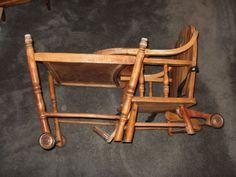 Antique Wooden Combination Babys High ChairRocker c1900s