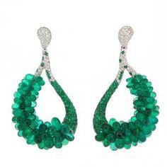 de GRISOGONO Emerald and diamond briolettes earrings