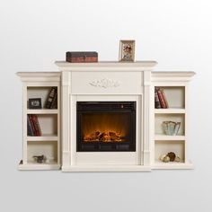 Find it at the Foundary - 70.25 in. Tennyson Electric Fireplace with Bookcase - Ivory
