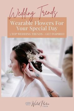Instead of having your bridal party hold bouquets as they walk down the aisle, swap them out for pretty floral bracelets that complement the color of their dresses. Added bonus: The bridesmaids can dance with them! Head to The Barn of Chapel Hill blog where they're sharing 5 perfect wearable floral wedding trends. Wedding Hair Flowers, Flowers In Hair, Floral Wedding, Wedding Bouquets, Top Wedding Trends, Wedding Styles, Flora Farms, Wedding Etiquette, Half Up Half Down Hair