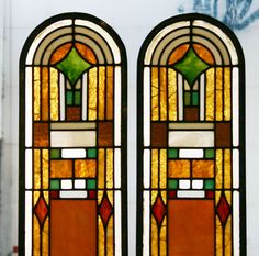 Pair Arts and Crafts, Prairie Style leaded stained glass windows.
