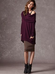 Four Multi-way Tunic Sweater - with a hint of cashmere. Victoria's Secret with the ribbed leggings. I must have!! Someway, somehow I will get this!! With leggings it is so cute!