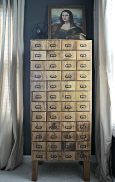 DIY Card Catalog Cabinet Reveal!  Build a cabinet with a faux card catalog front!