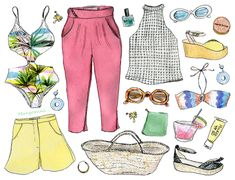2018 sunny Palm Springs style, illustrated by Cindy Mangomini for Hello Giggles #fashionillustration #palmspringsstyle