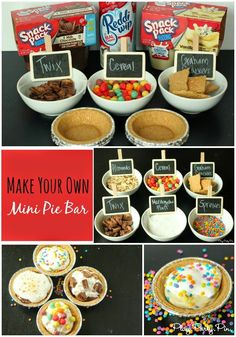 Make your own mini pie bar idea using Snack Pack pudding cups from - kid or adult party idea Party Food Bars, Snacks Für Party, Bar Food, Snack Bar, Parties Food, Party Desserts, Food Food, Snack Pack Pudding, Pudding Cups