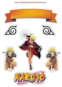 Anime Naruto, Naruto Shippuden, Bolo Do Naruto, Naruto Party Ideas, Naruto Birthday, Box Template Printable, Anime Cake, Hunter Anime, Anime Stickers