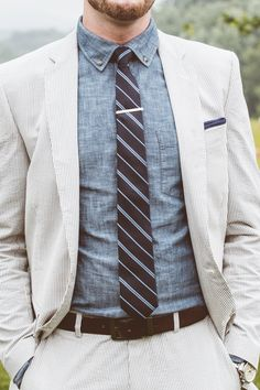 chambray + pin stripe groom | a muse photography | via: snippet & ink