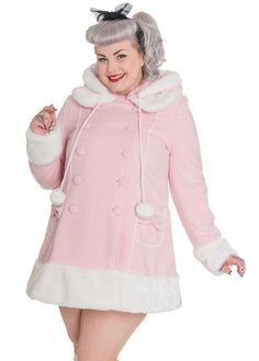 Hell Bunny Sarah Jane Coat | Attitude Clothing This baby pink, plus size beauty is the Sarah Jane Coat from Hell Bunny. It's so 'Super Kawaii' we can't handle it! With its soft white, faux fur trim on the cuffs, hem and collar and cute bows on the pockets. It has a ribbon lace-up corset back and the hood has pom pom drawstrings and is fully detachable. The coat is quilted for maximum cosiness.