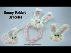 Rainbow Loom BUNNY CHARM Bracelet. Designed and loomed by Kate Schultz of Izzalicious Designs. Click photo for YouTube tutorial. 04/02/14.