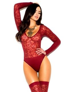 Sexy Women Teddy Bodysuit Lingerie. Burgundy Red Semi Sheer Opaque Bodysuit. High waist Thong style rear Bodysuit. Scoopneck front Teddy. Wear this as lingerie or add under a pair of Jeans. Heavily Detailed Floral Lace Mesh and Solid Pattern. | eBay!