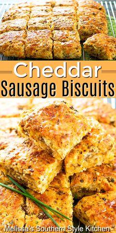 Easy Cheddar Sausage Biscuits #sausagebiscuits #cheddarbiscuits #southernbiscuits #biscuitrecipes #brunch #breakfast #southernfood #southernrecipes #biscuits