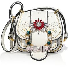 Miu Miu Dahlia Jewel-Buckle Studded Leather Shoulder Bag (52.265 ARS) ❤ liked on Polyvore featuring bags, handbags, shoulder bags, saddle bag, white leather shoulder bag, man leather shoulder bag, white leather handbags and shoulder handbags