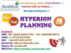 AcuteSoft Company is now providing Hyperion Planning Online Training by the real time IT Experts and along with training...