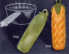 Cool Cucumber Pan Handler crochet patterns from Crochet Gifts & Bazaar Novelties, originally published by the DMC Corporation, Volume 405, in 1953.