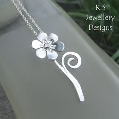 Shiny Flower & Swirl Sterling Silver Pendant - Metalwork Floral Necklace £38.00