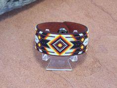 Native American Beaded Copper Chevron Leather Bracelet 1