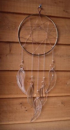 GLASS DREAMCATCHER Clear Fused Glass Feather Dream Catcher