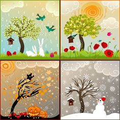 Four seasons set with tree, bird feeder, birds, pumpkin lanterns and snowman - Spiel Q Tip Painting, Painting For Kids, Drawing For Kids, Art For Kids, Four Seasons Art, Christmas Bible, Easy Canvas Art, Painting Activities, Bird Tree