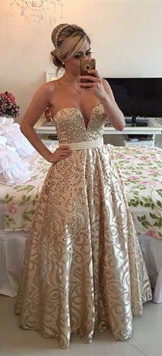 Modern V-neck Sleeveless Pearls Prom Dress 2016 Open Back Floor-length from www.27dress.com