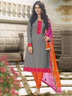 Grey Cotton Suit with Lace Work