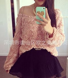 Vintage+3D+Rose+Printed+Cute+Women+Tops