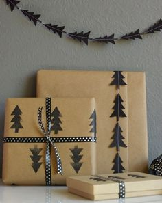 Black Tree Garland and Tree Stamped Craft Paper, choose the color of your choice. | Instructions from Poppytalk