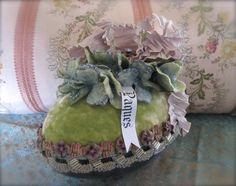 Velvet Easter Egg Centerpiece, Vintage Flowers, Jewels, Ribbon