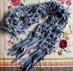 Crochet denim scarf
