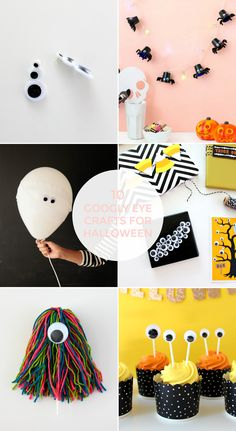 Halloween House, Halloween Gifts, Halloween Decorations, Googly Eye Crafts, Yarn Monsters, Party Checklist, Monster Cupcakes, Googly Eyes, Halloween Activities