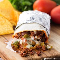 Chorizo, Potato, and Queso Burritos (for extra crunch, you can substitute with tater tots)