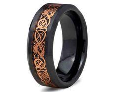 8MM Rose Gold Celtic Dragon Tungsten Carbide Mens Black Ring Wedding Band M60