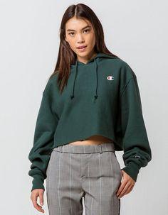 6ee3e708aaa74 CHAMPION Reverse Weave Lakeside Green Womens Crop Hoodie - GREEN - 333726500